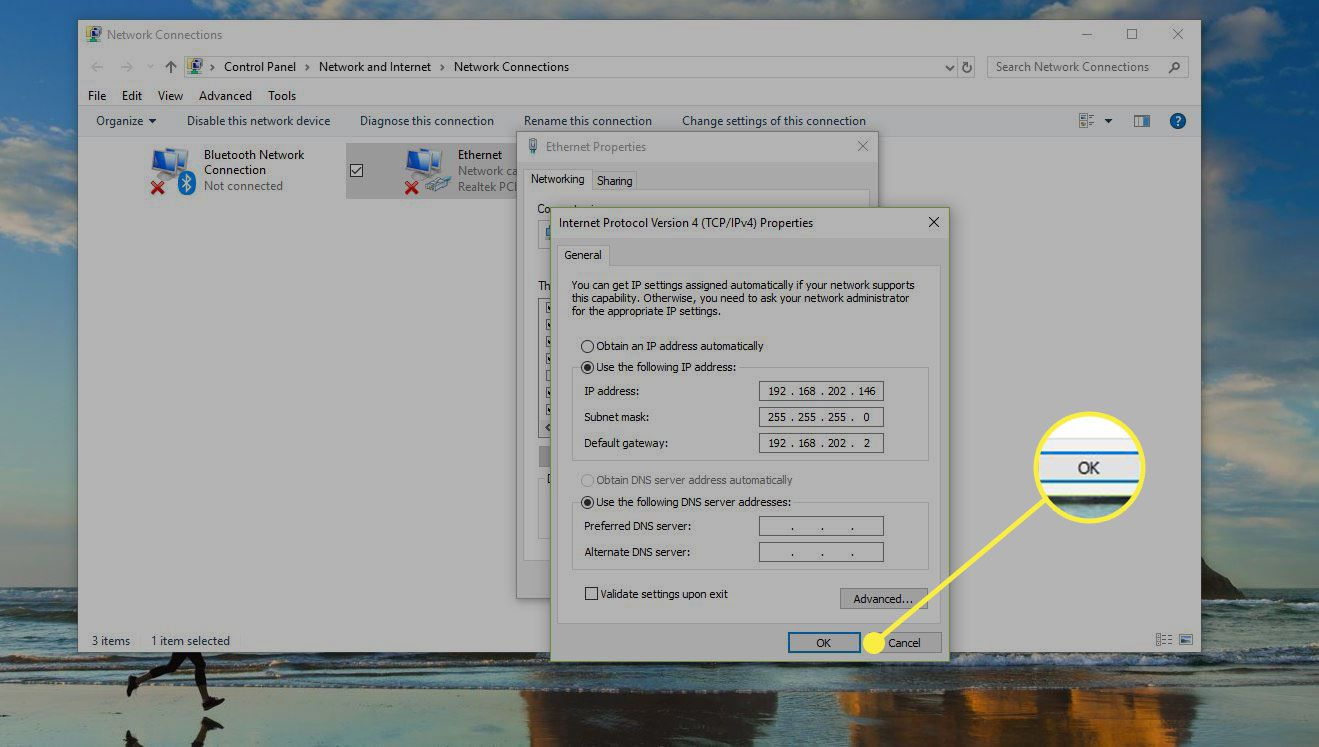 Network Connections window in Windows with the OK button highlighted