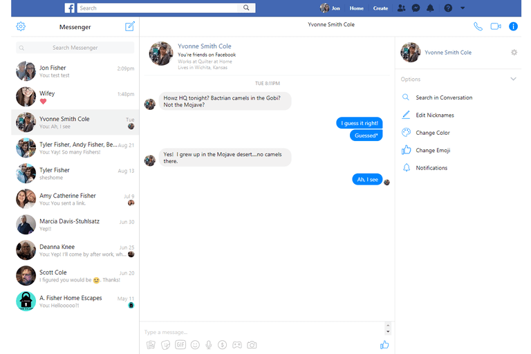 Screenshot of the Facebook.com full screen chat window