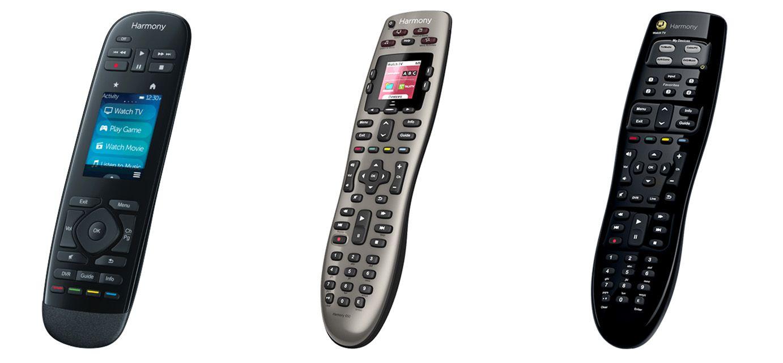 Three Logitech Harmony universal remote controls