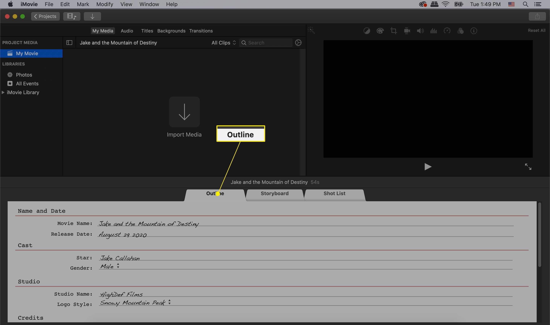 iMovie trailer select outline