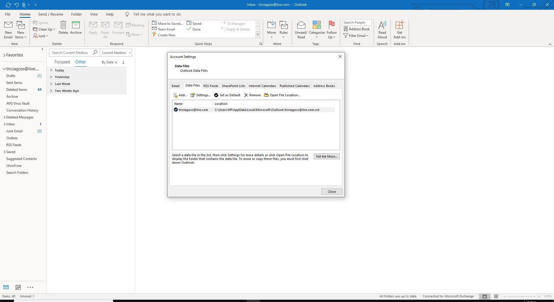 Screenshot of Data Files tab on Account Settings