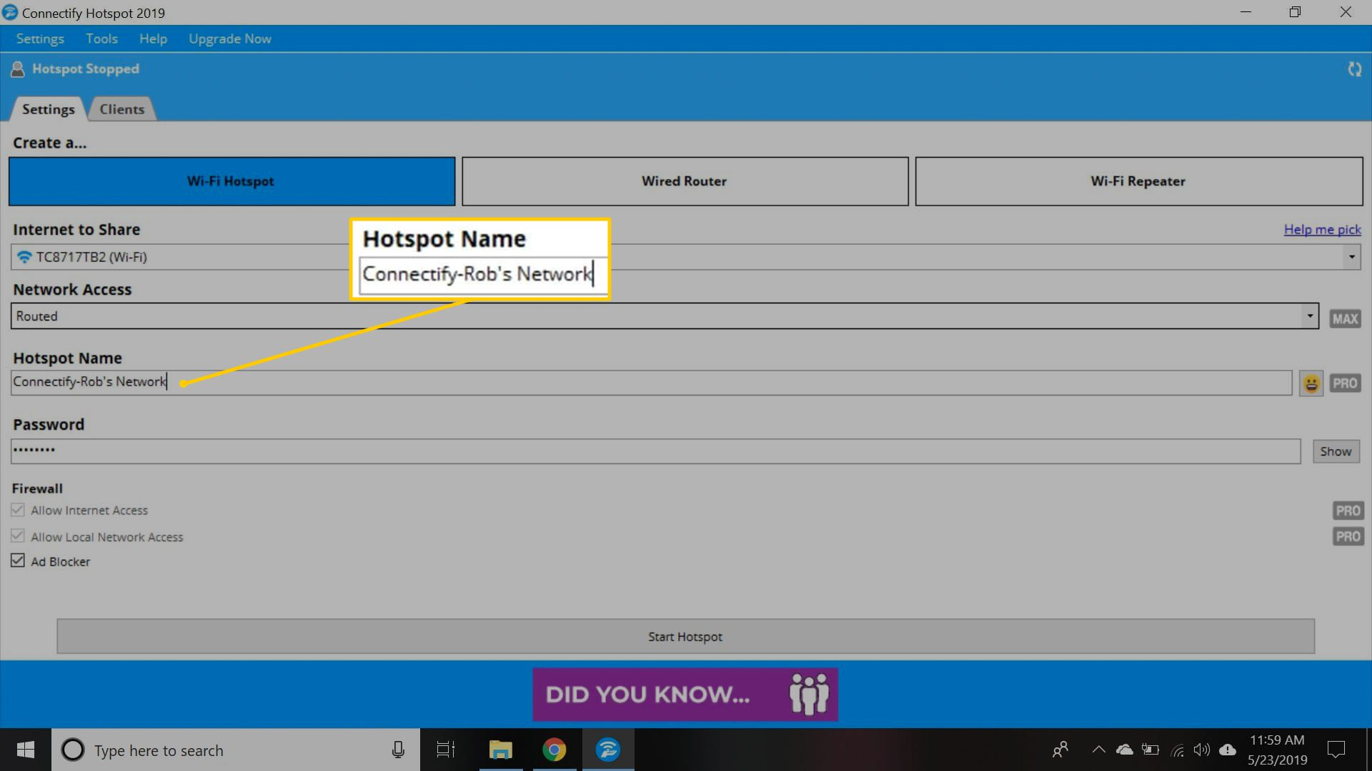 Hotspot Name field in Connectify's web interface