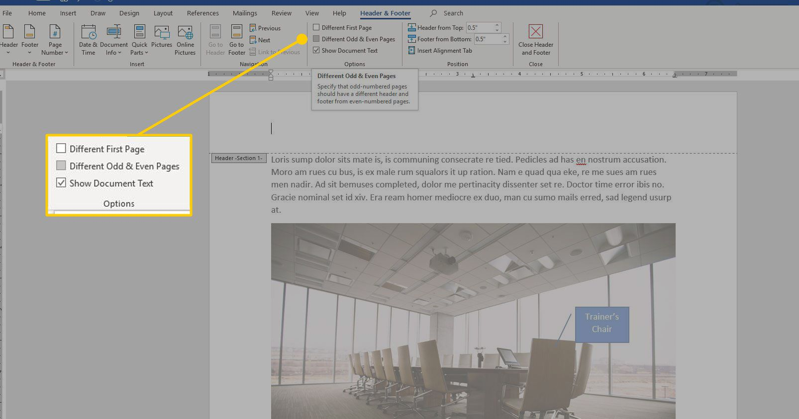 Header and Footer options in Word