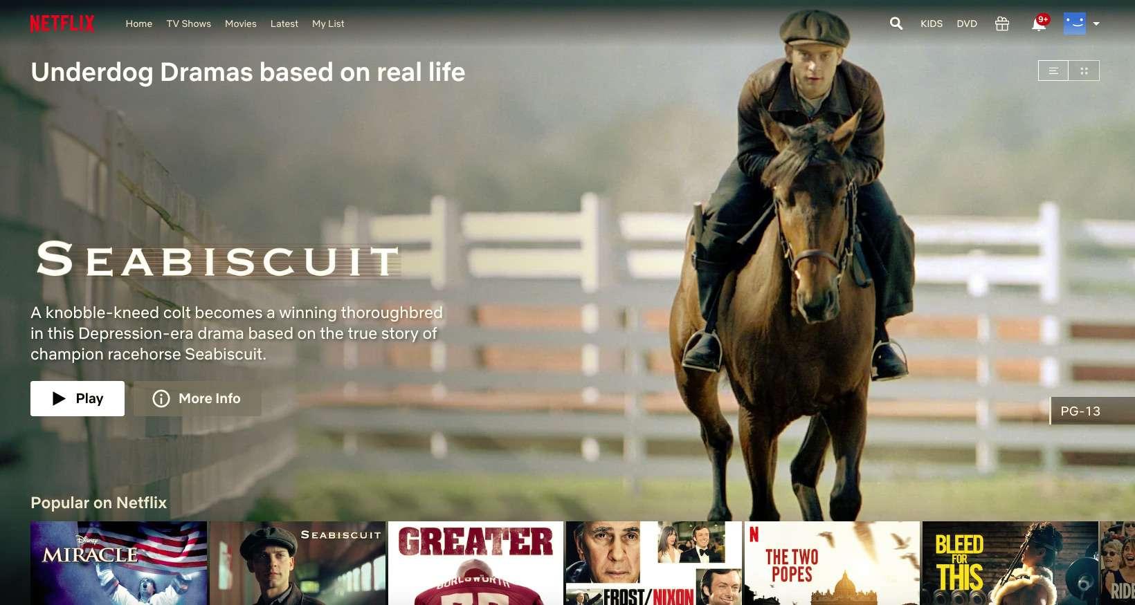 Netflix underdog drama Seabiscuit, found with secret code
