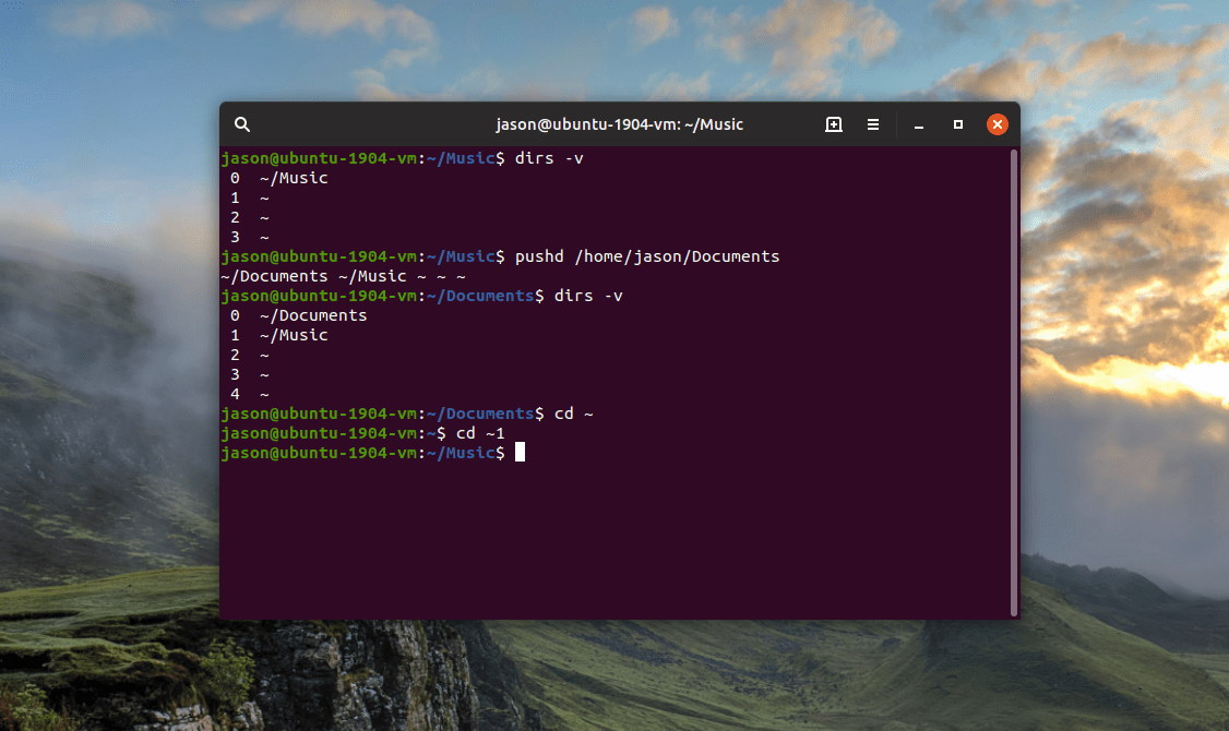 pushd linux