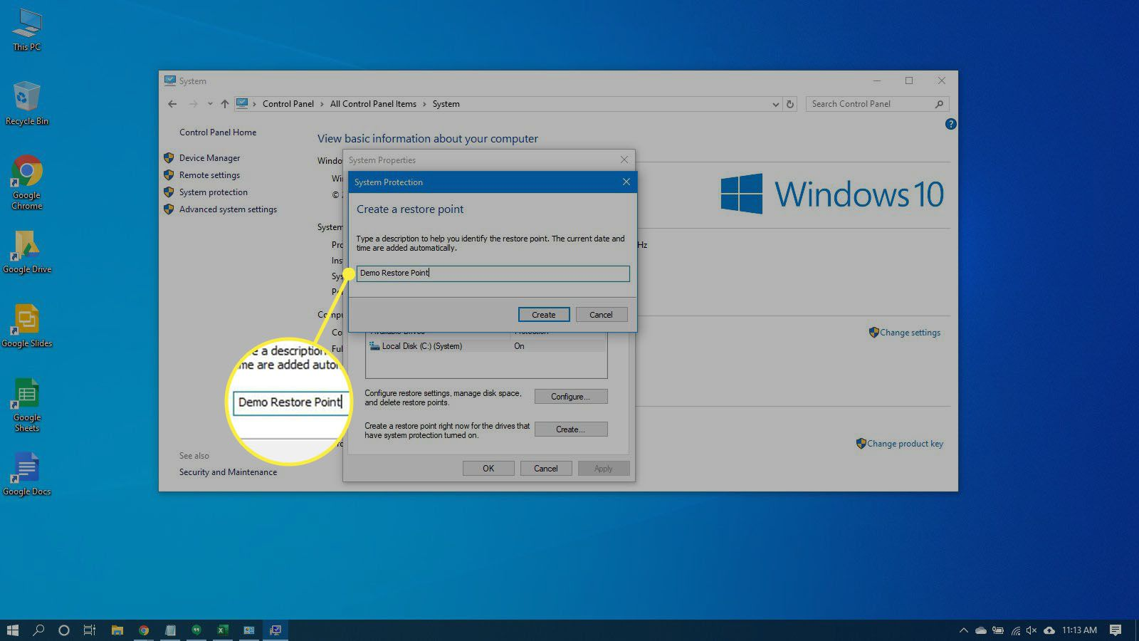 Naming the restore point in Windows 10.