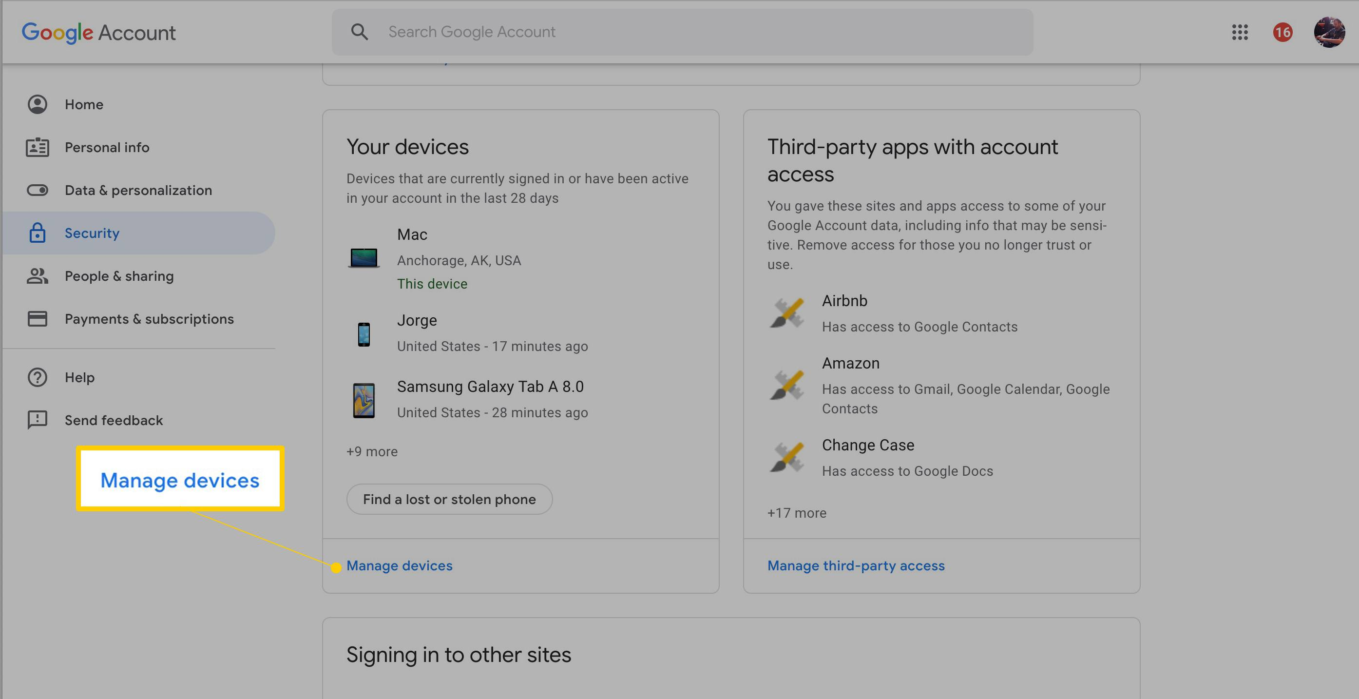 change google account on mobile