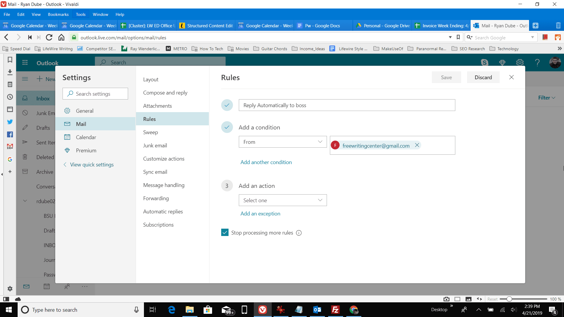 Screenshot of adding a rules condition in Outlook online