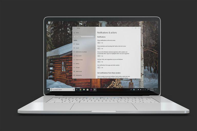 Notification settings on Windows 10 laptop