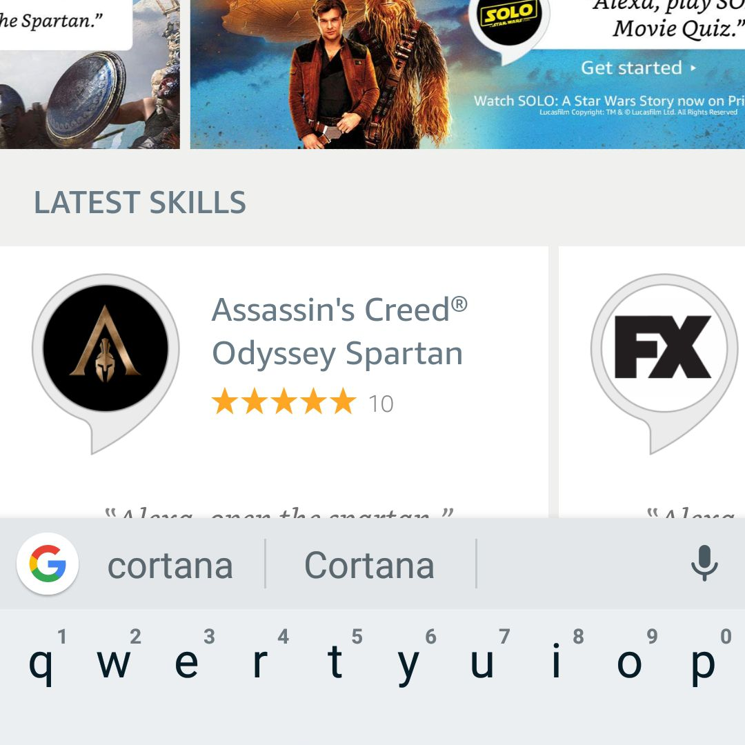 Alexa Android app search for Cortana skill