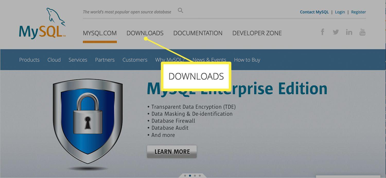 MySQL website showing the Downloads tab