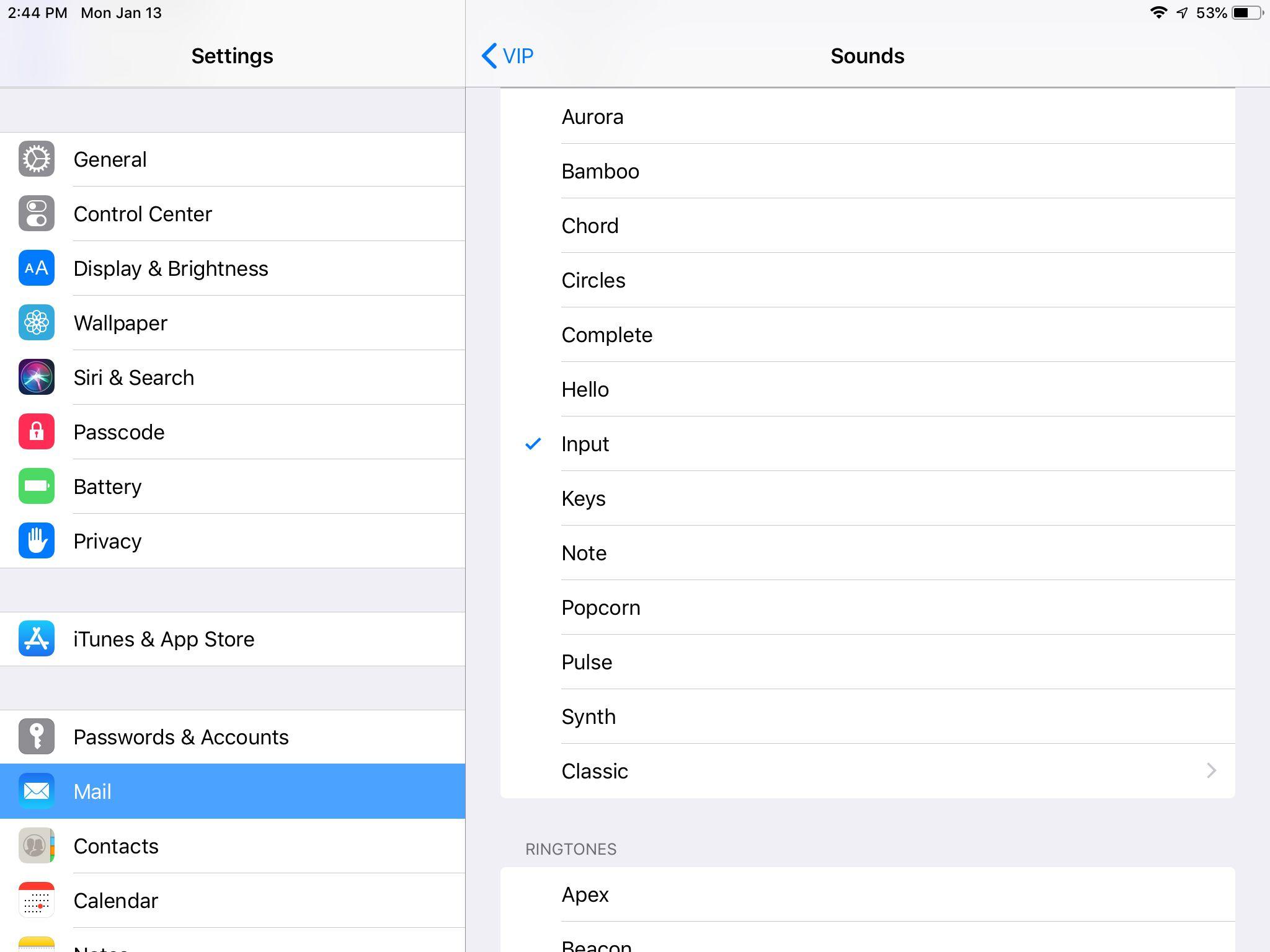Sounds screen in iPad settings