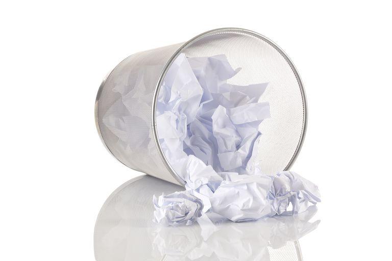 Crumbled paper ball trash