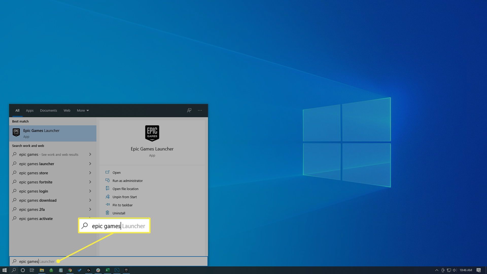 Searching for the Epic Games Launcher in Windows 10.