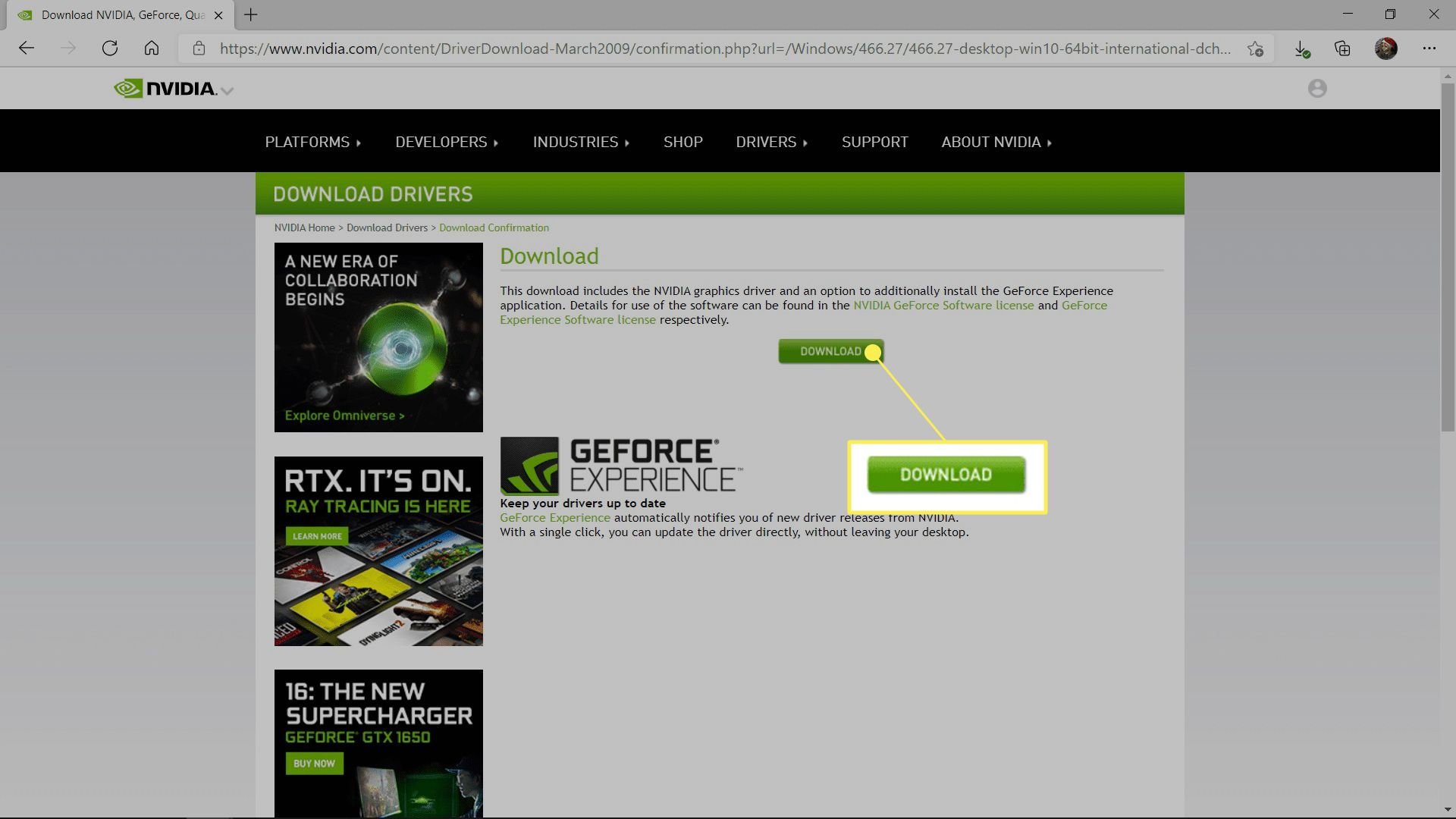 DOWNLOAD highlighted on the Nvidia driver download site.