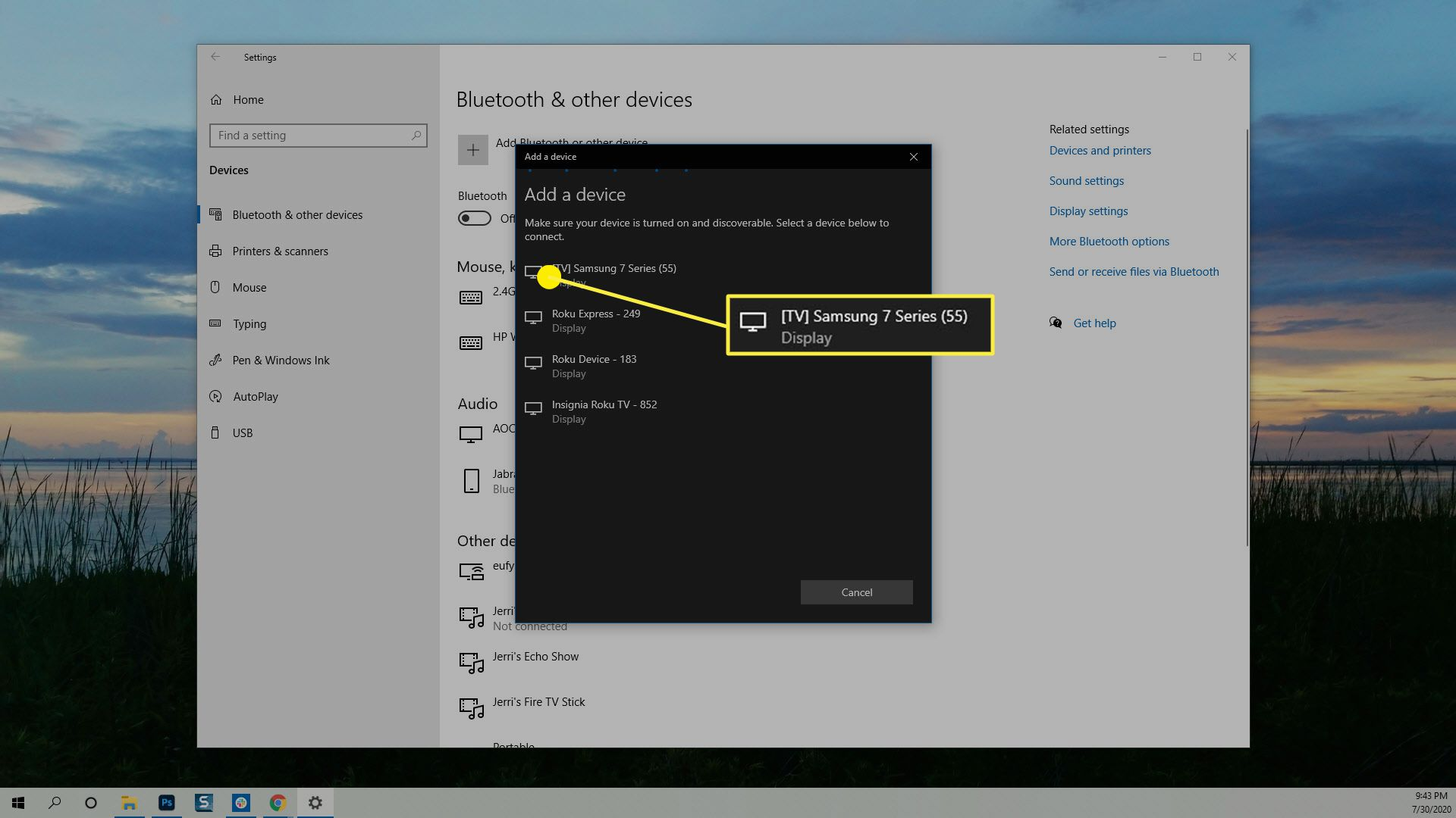 The list of available devices in the Add a device dialog box in Windows.