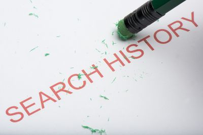Pencil erasing the words Search History