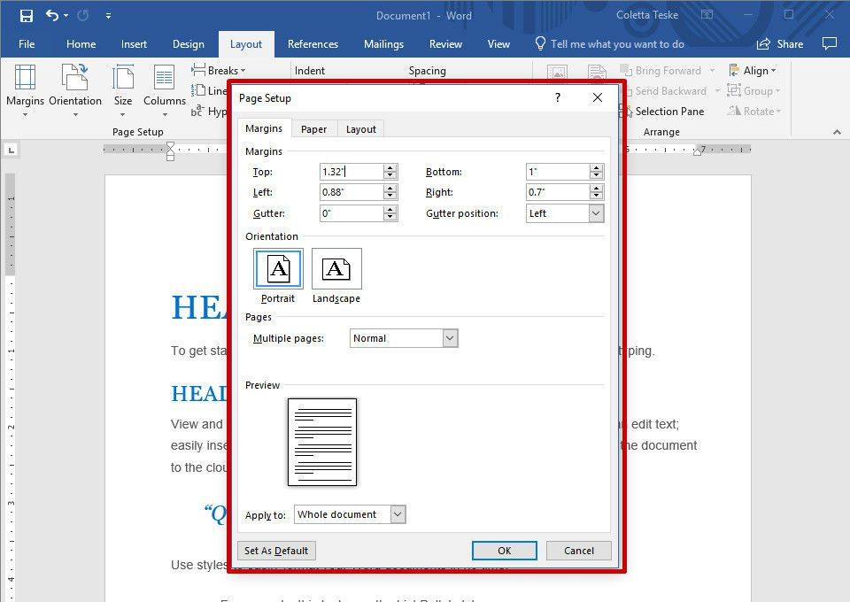 changing margins in word