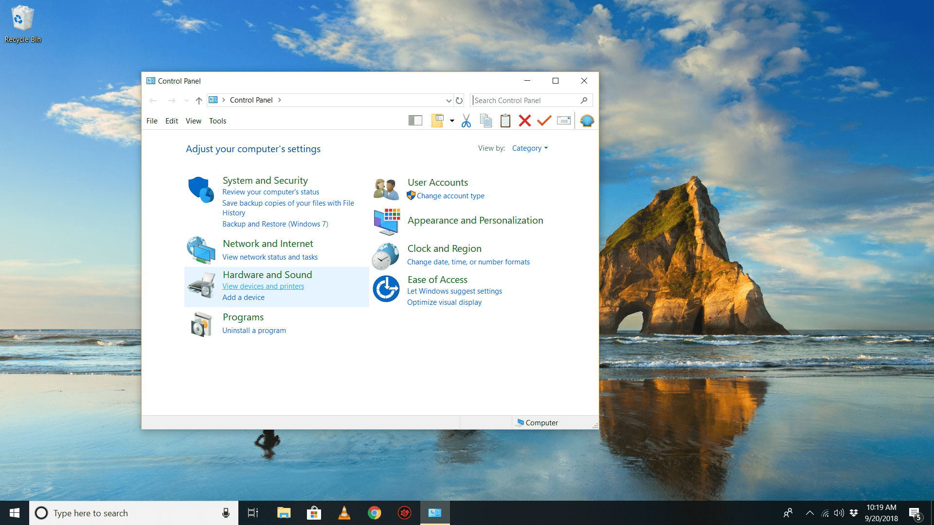 cant access control panel on windows 10