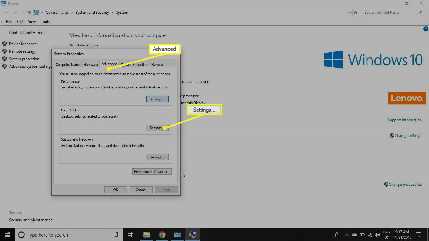 The Advanced tab in the System Properties window with Settings under Performance highlighed