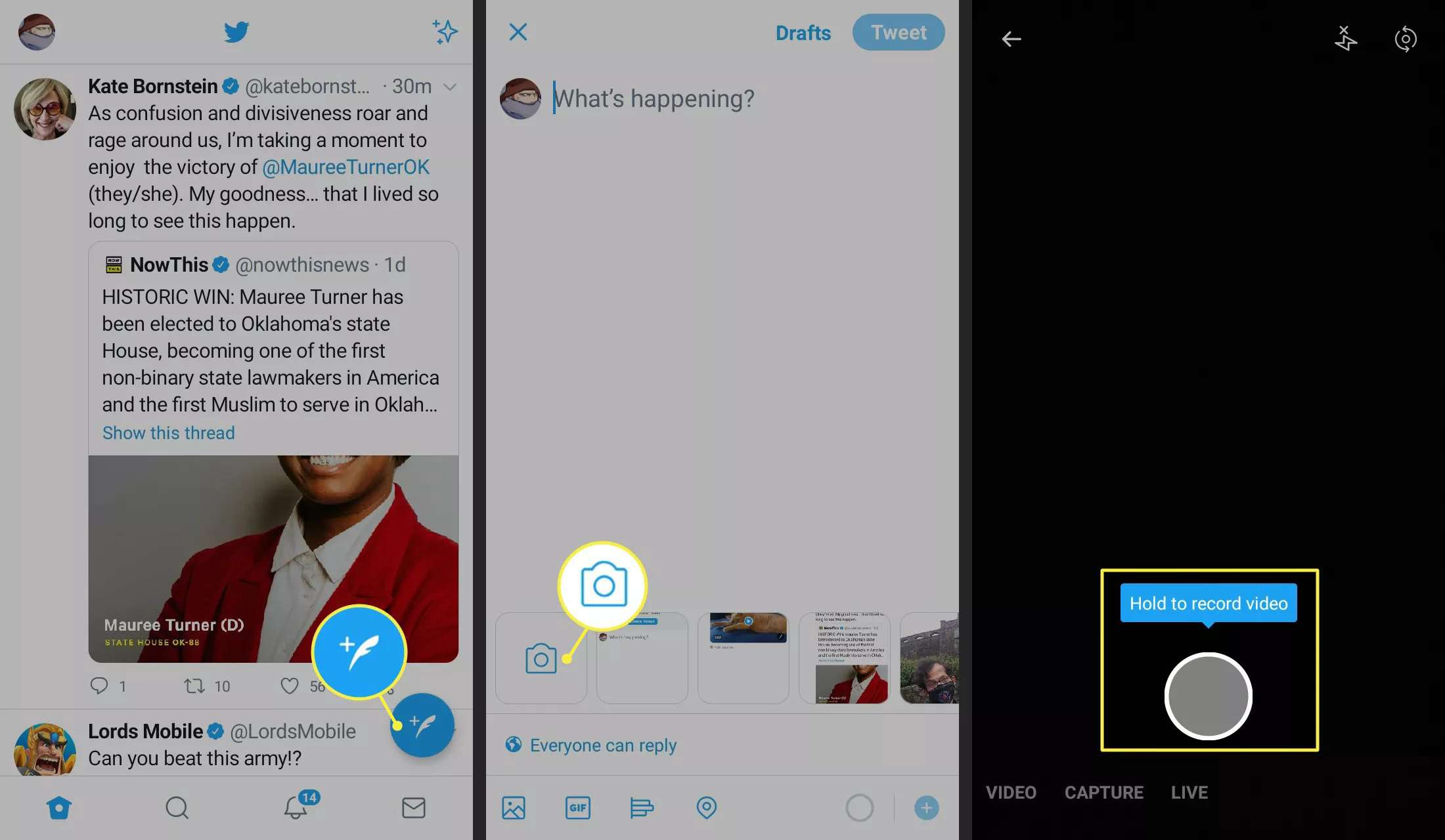 Compose Tweet, Camera, and Captrure icon on the Twitter app