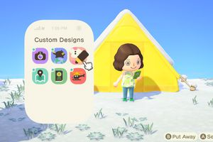 Screenshot of Animal Crossing: New Horizon - the player standing outside their tent home with NookPhone open