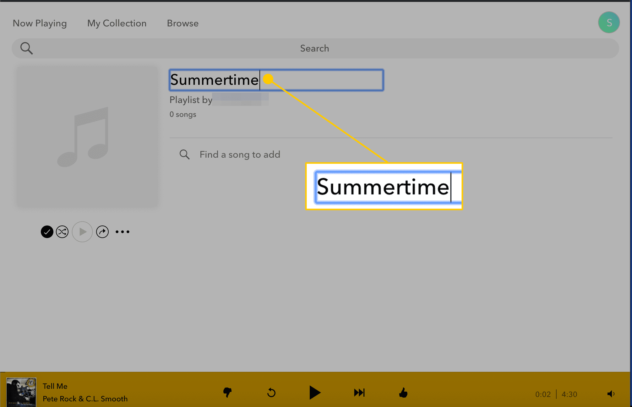 Summertime playlist title in Pandora on the web