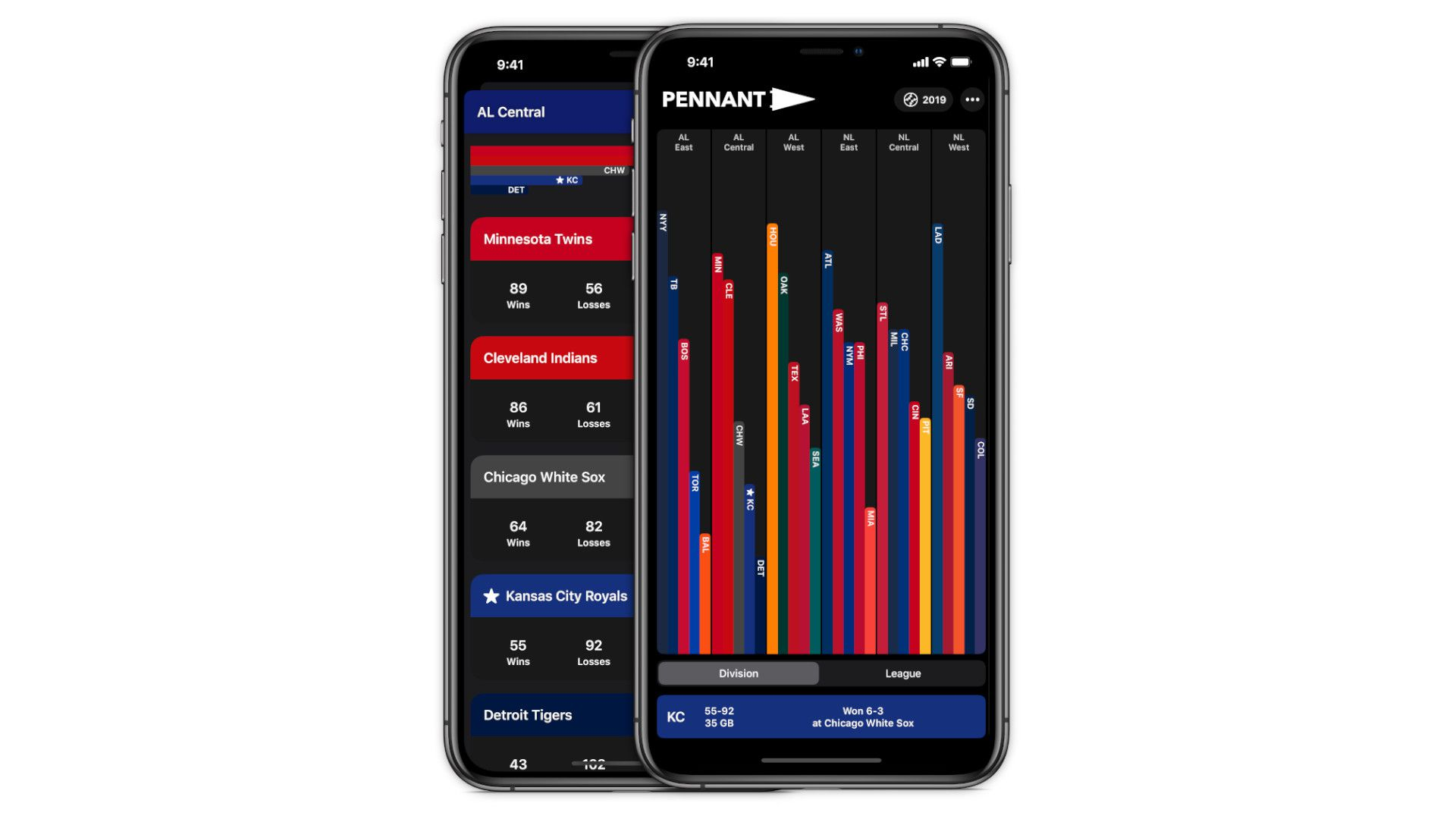 The Pennant app gives you sports standings at a glance