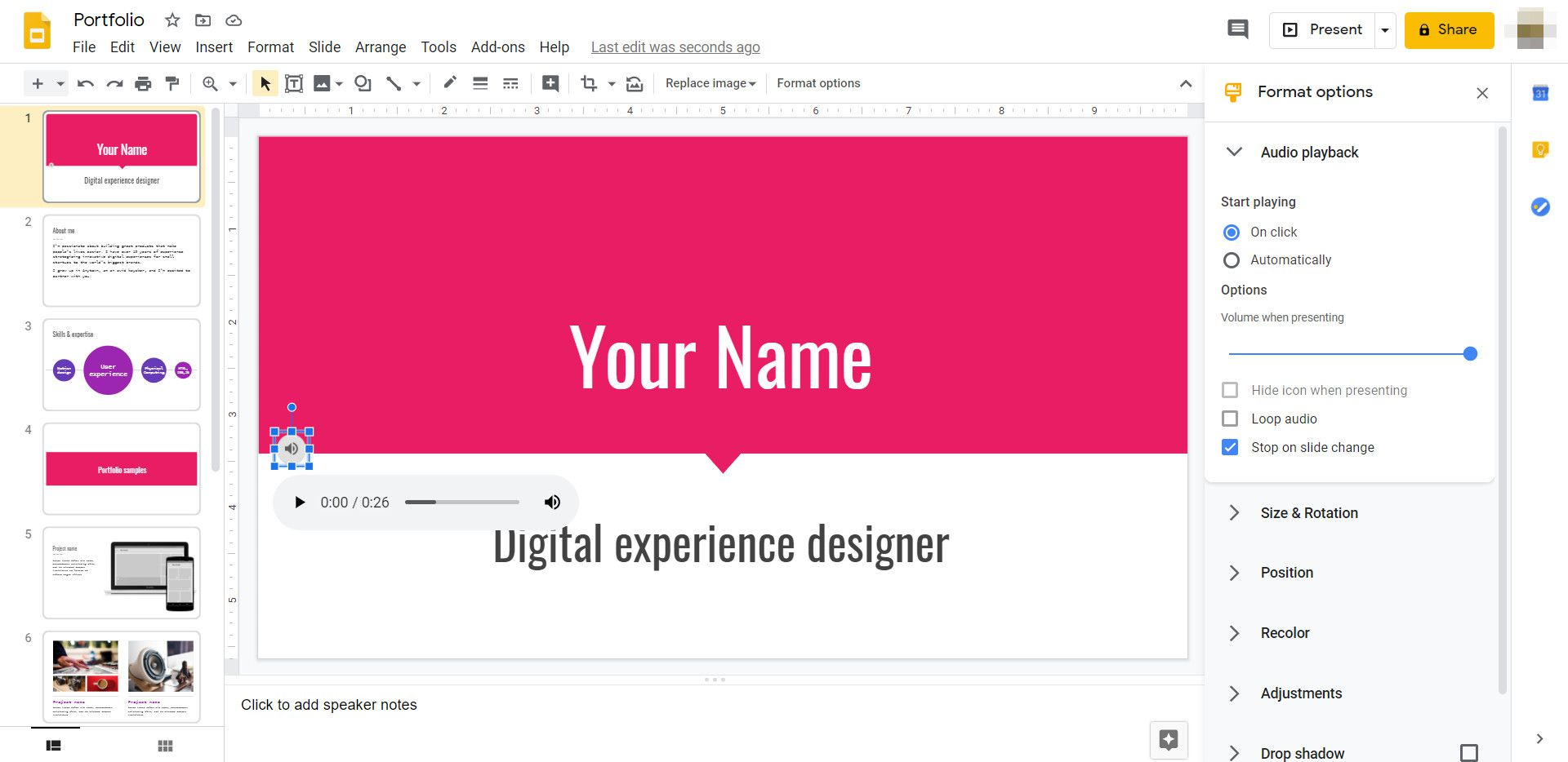 A Google Slides presentation with formatting options for an audio player on the right-hand side.