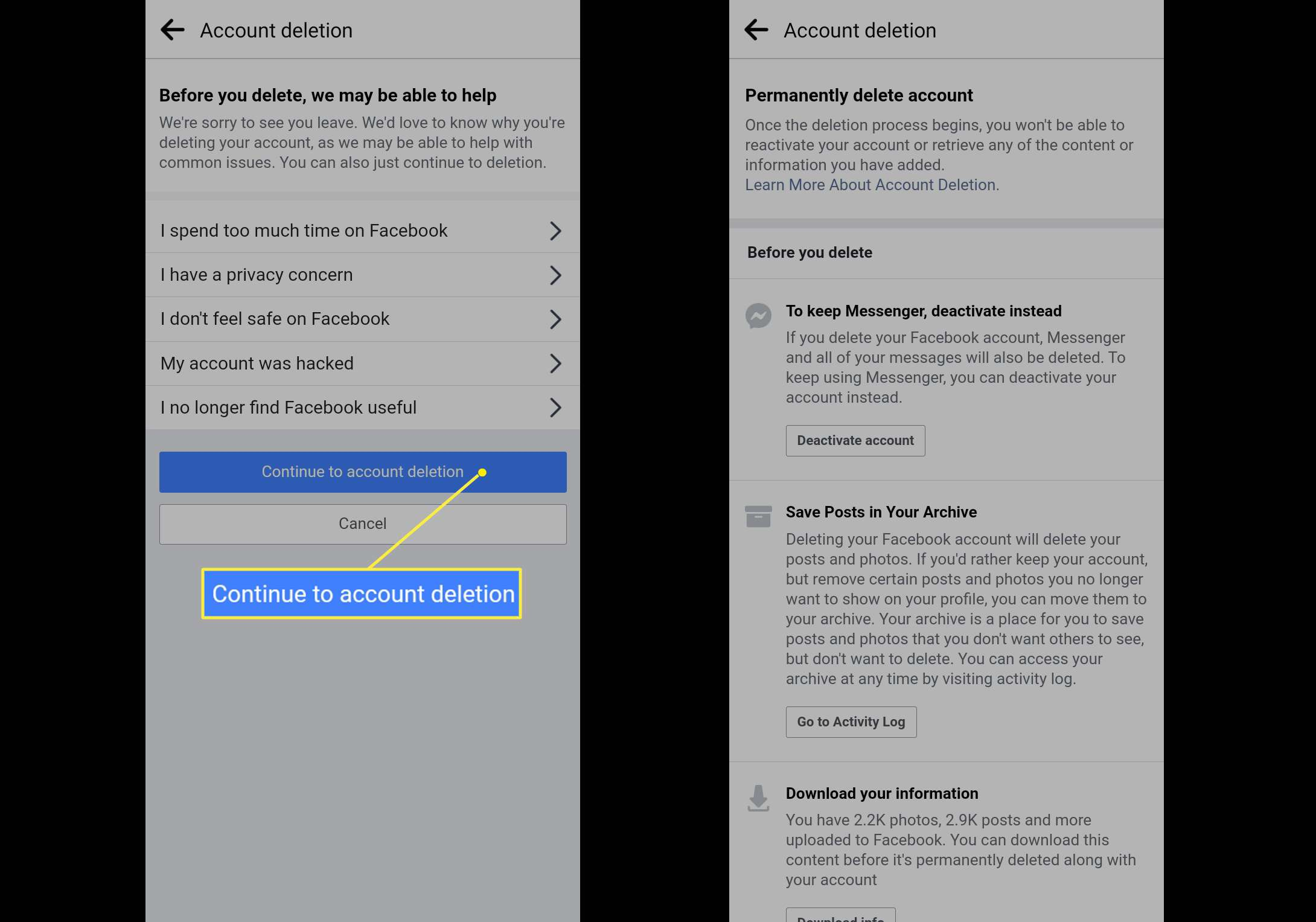 Permanently deleting Facebook account on Android