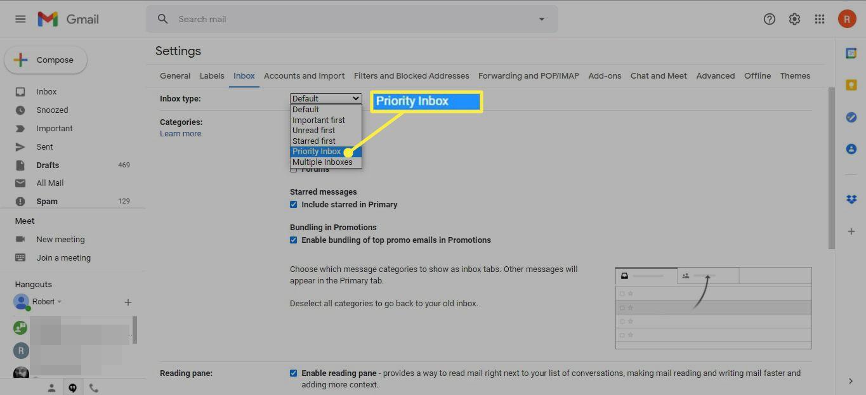 Priority Inbox in the Inbox type drop-down