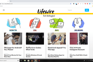 Chrome in full-screen mode with Lifewire website onscreen