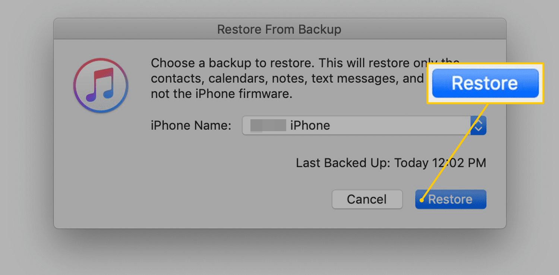 Final Restore button in iTunes