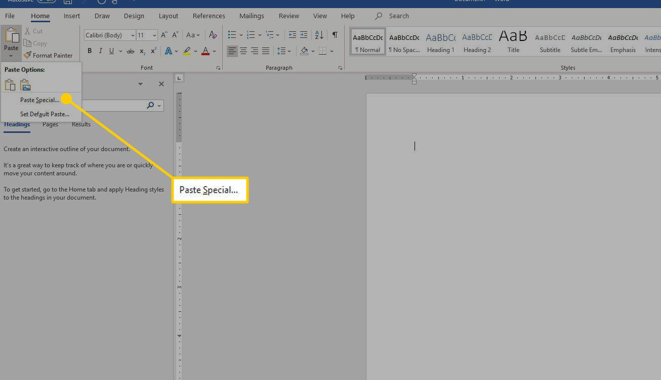 Paste dropdown menu in Word with the Paste Special option highlighted