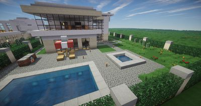 Minecraft house and pool