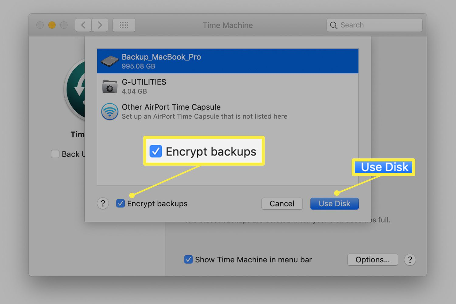 Time Machine preference for enabling encryption