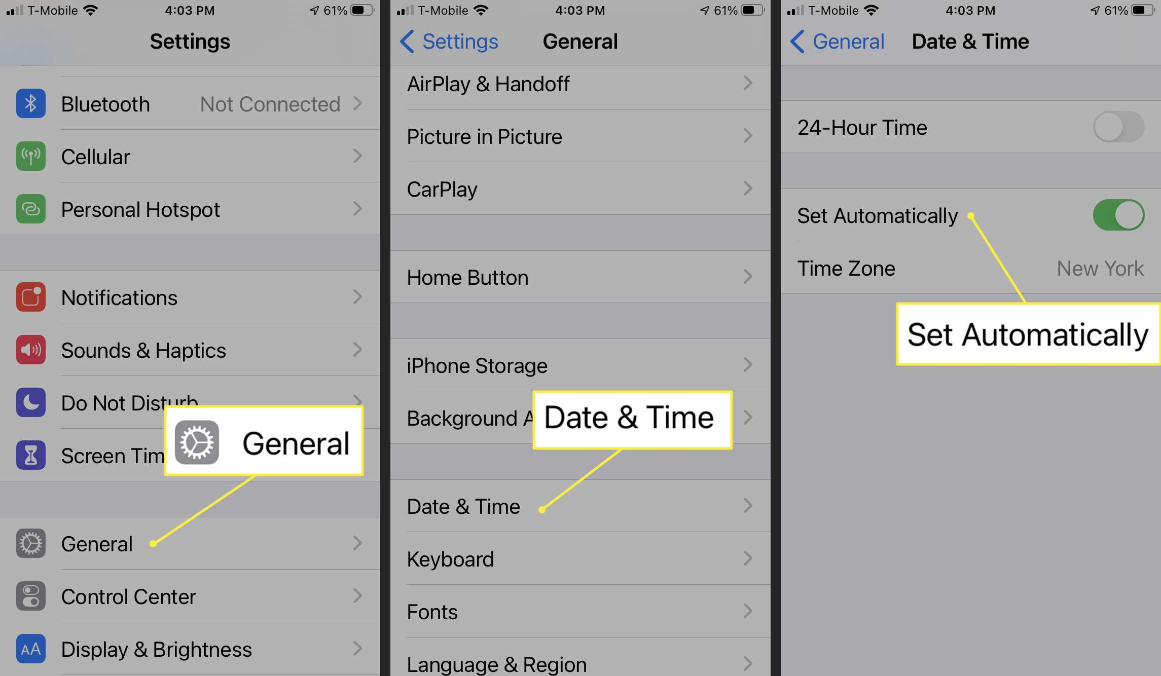 iPhone Date & Time settings