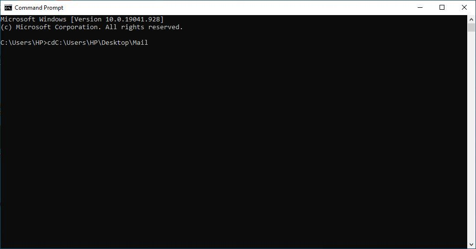 Mail folder in Command Prompt
