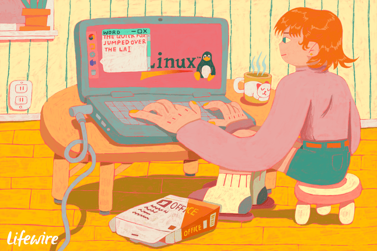 Illustration of a person using Word on a Linux laptop