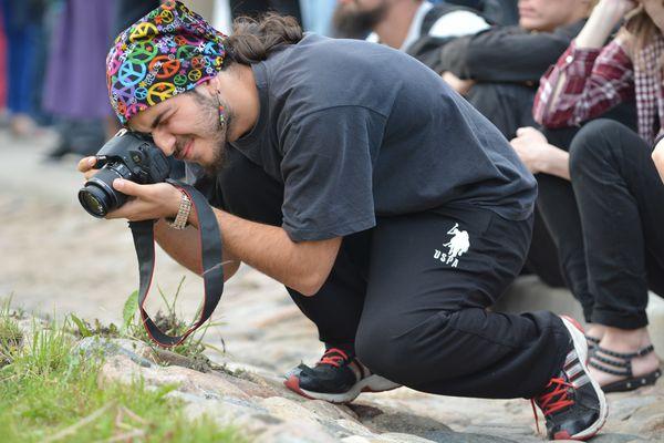 Photographer taking macro photographs.