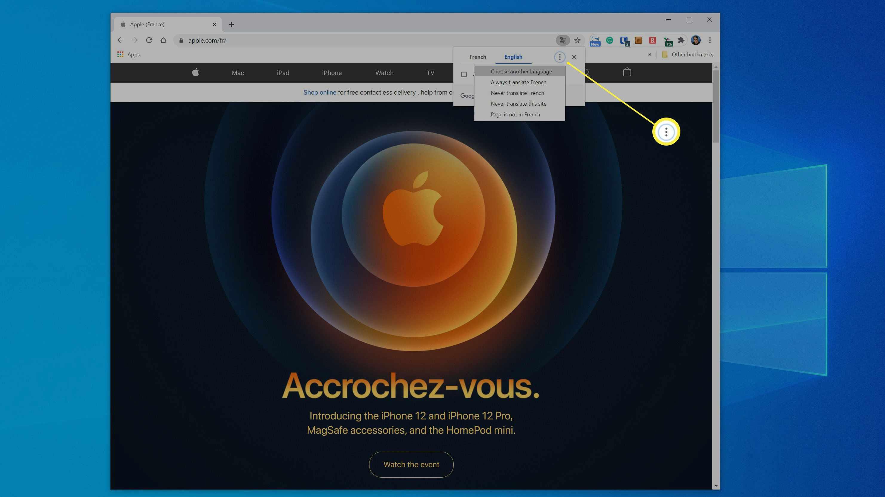 Chrome's Translate menu on a French web page.