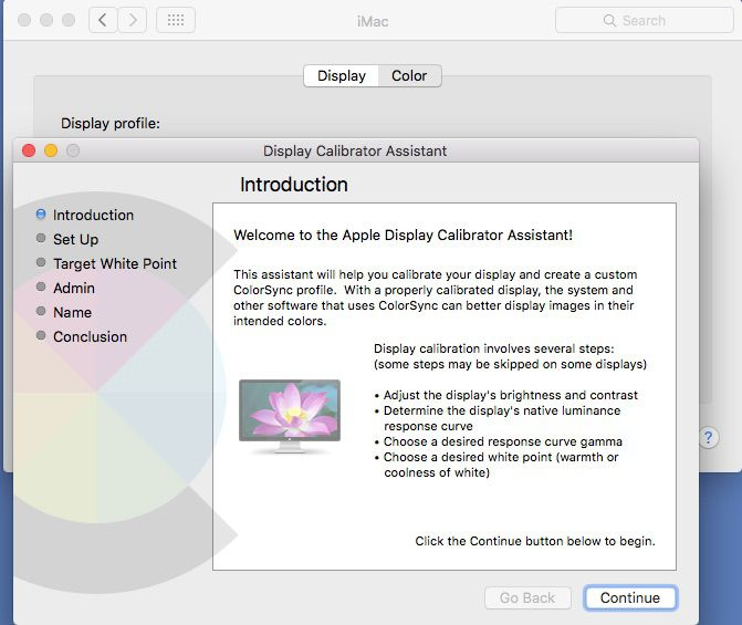 Select Calibrate to launch the Display Calibrator Assistant