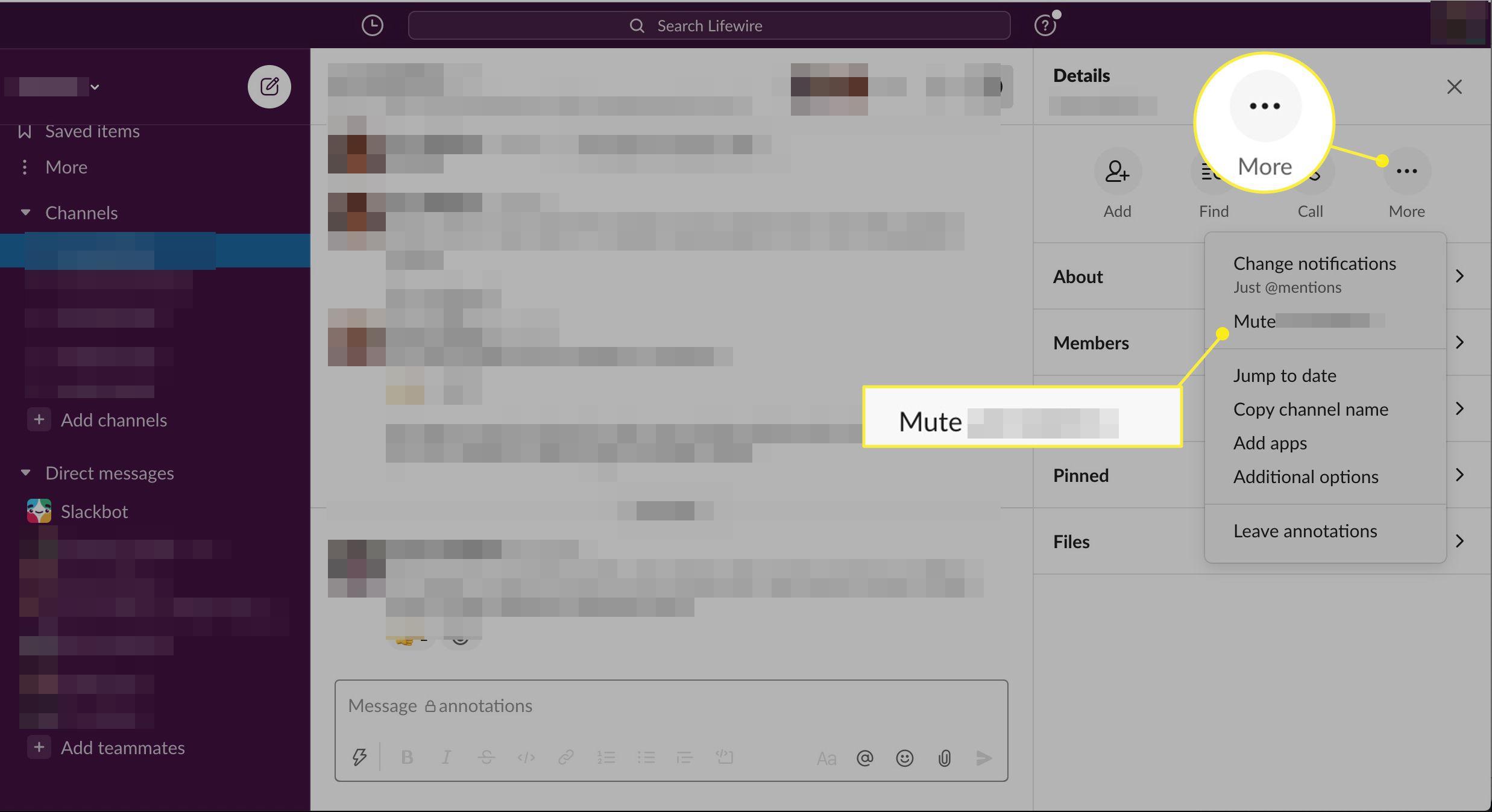 Mute link in menu
