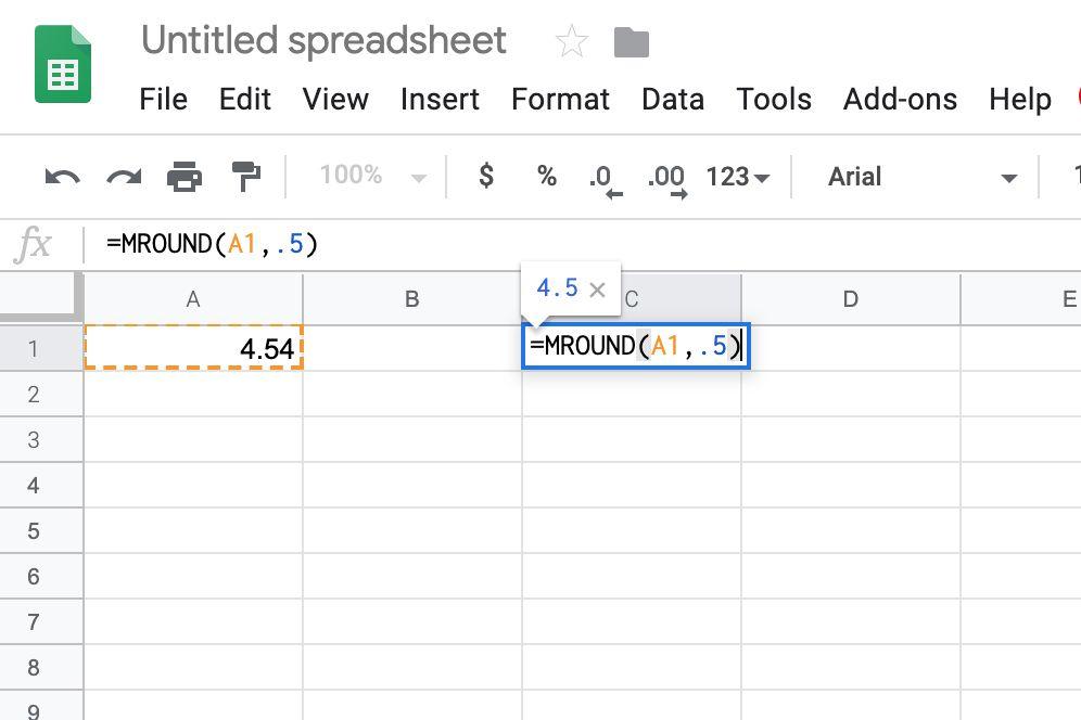 Google Sheets MROUND by .5