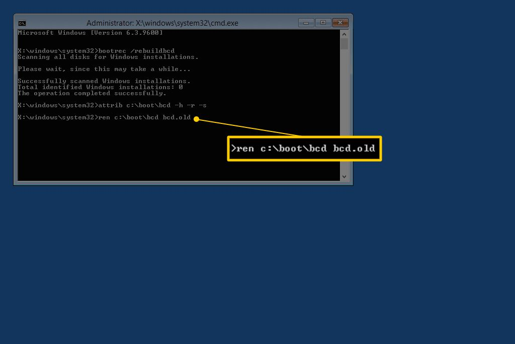 ren c:\boot\bcd bcd.old command in Console