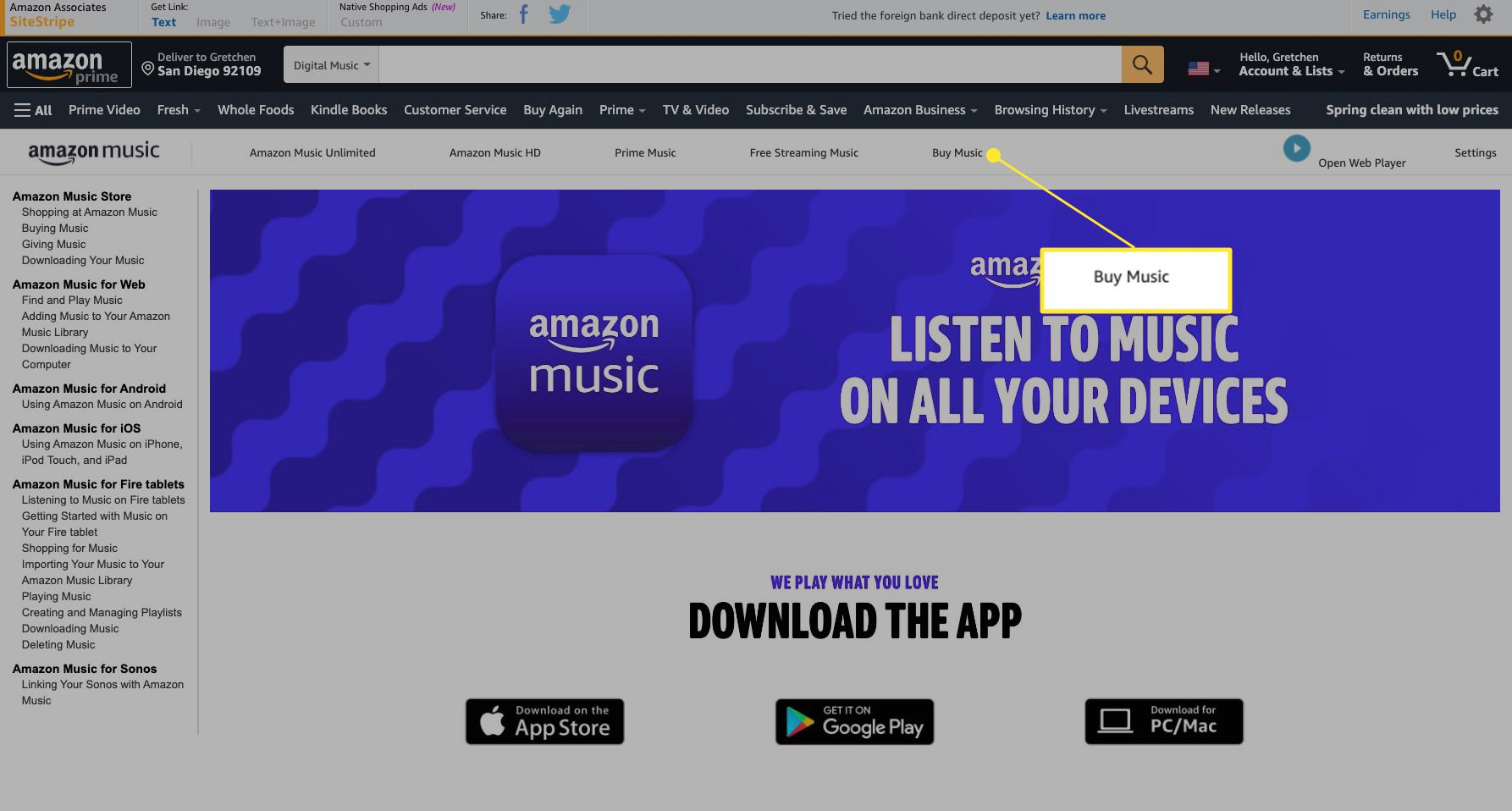 Amazon Music web page with Buy Music highlighted