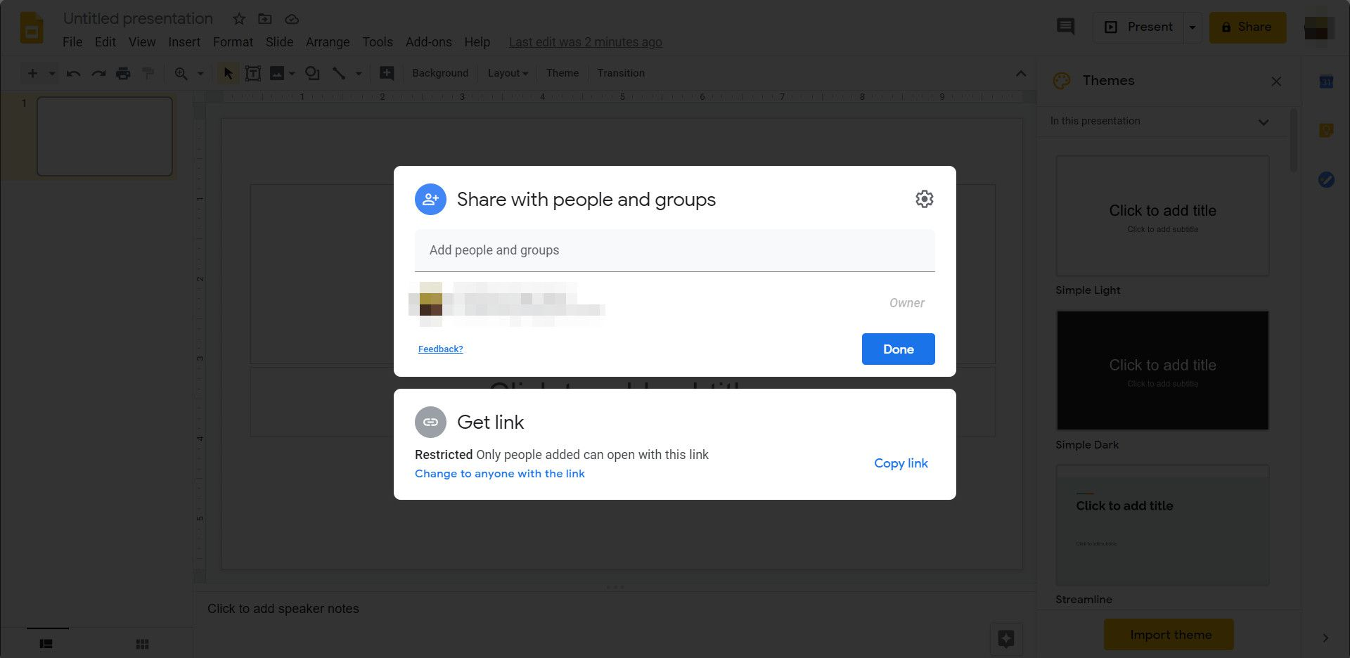 Use the Share button to add collaborators to your Google Slides presentation