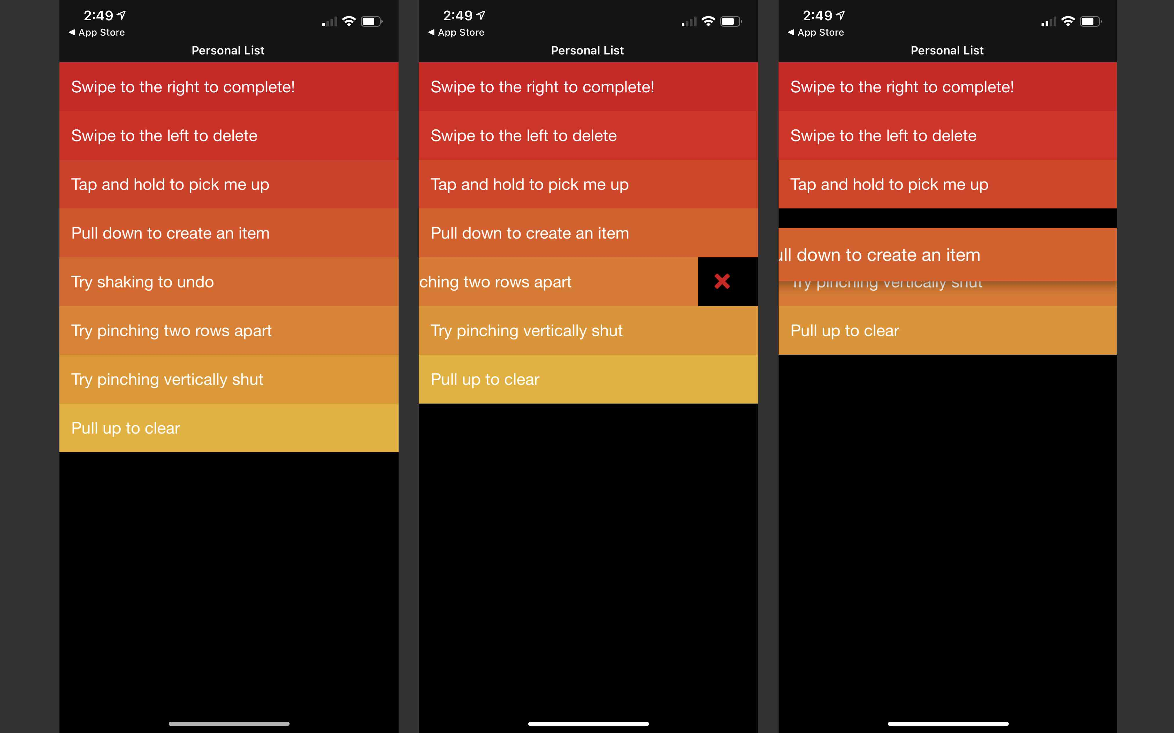 Screenshots from the Clear to-do list app
