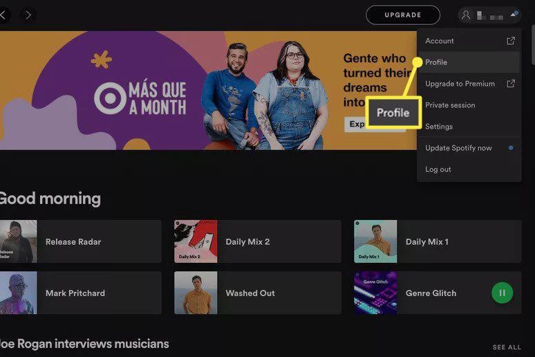 Profile highlighted in Spotify user menu