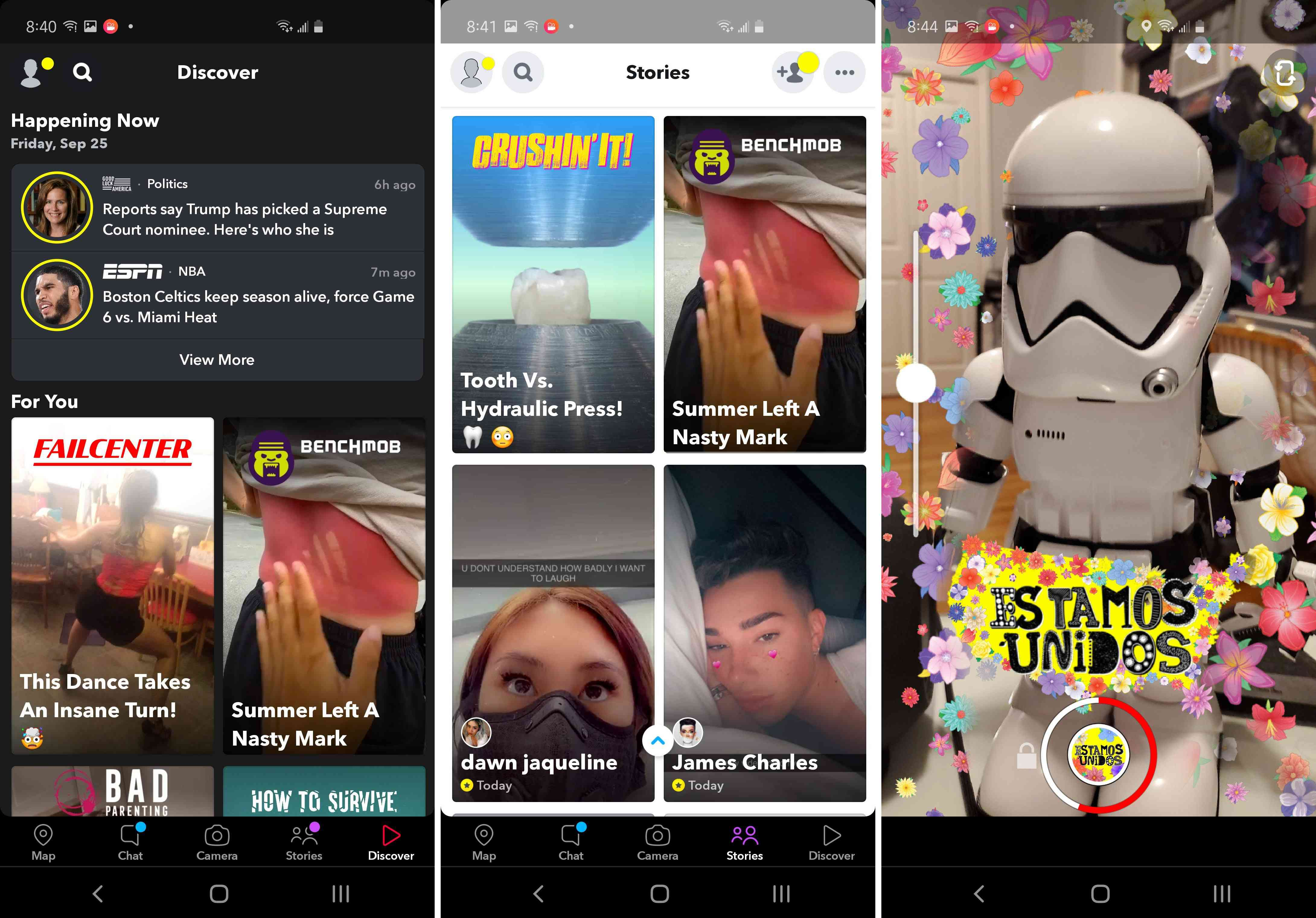Three views of the Snapchat app